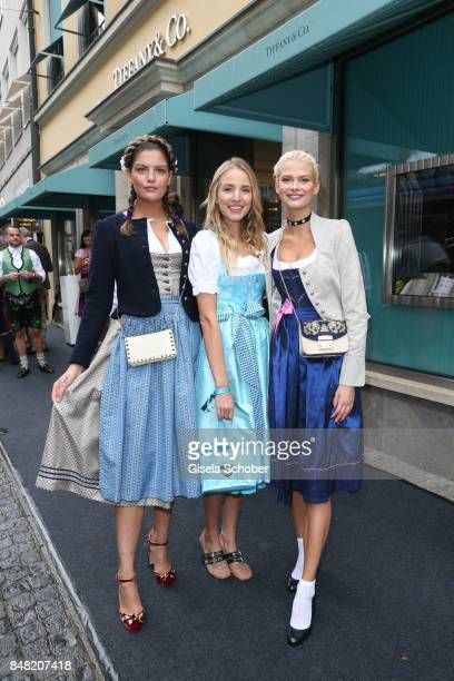Model Vanessa Fuchs Blogger influencer Leonia Hanne and model Darya Strelnikova GNTM during the 'Fruehstueck bei Tiffany' at Tiffany Store ahead of...