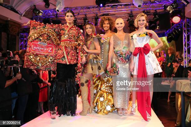 Model Vanessa Fuchs Ina Aogo Marie Amiere Anna Hiltrop Kim Hnizdo during the 20th Lambertz Monday Night 2018 at Alter Wartesaal on January 29 2018 in...