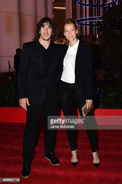 Model Vanessa Lorenzo and Laureus Ambassador Carles Puyol arrive for the Laureus World Sports Awards 2015 Welcome Party at the Pearl Tower on April...