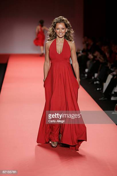 Model Vanessa Williams walks the runway at the Heart Truth Red Dress Collection during the Olympus Fashion Week at Bryant Park February 4 2004 in New...