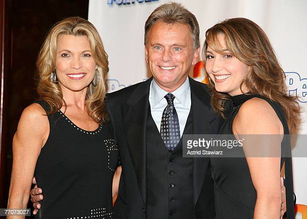 Model Vanna White Host of 'Wheel Of Fortune' Pat Sajak and wife Lesley Brown Sajak attend the 25th anniversary celebration of the television game...