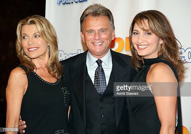 Model Vanna White Pat Sajak and wife Lesley Brown Sajak attend the 25th anniversary celebration of the television game show 'Wheel Of Fortune' at...