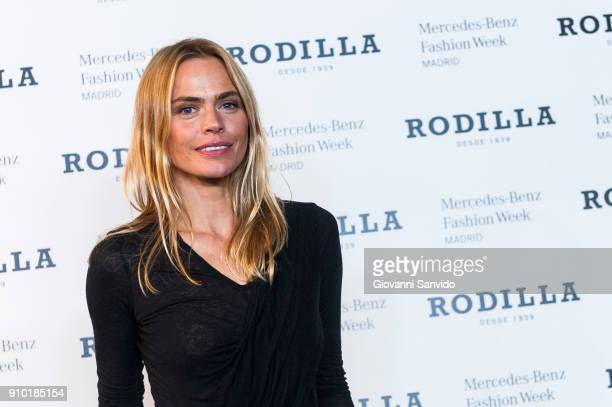 Model Veronica Blume attends the 'Rodilla photocall' during MercedesBenz Fashion Week Madrid Autumn/ Winter 201819 at IFEMA on January 25 2018 in...