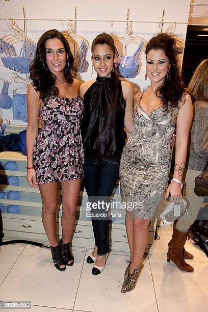 Model Veronica Hidalgo Patricia Rodriguez and Maria Jesus Ruiz attend new Intimisimi colecction photocall at Intimisimi store on March 26 2010 in...