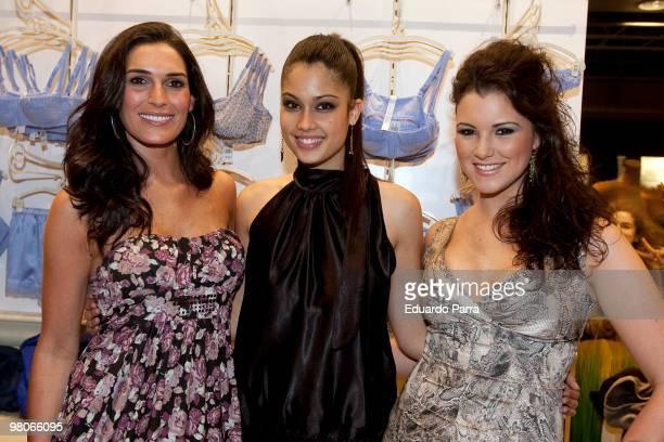 Model Veronica Hidalgo Patricia Rodriguez and Maria Jesus Ruiz attend new Intimisimi collection photocall at Intimisimi store on March 26 2010 in...