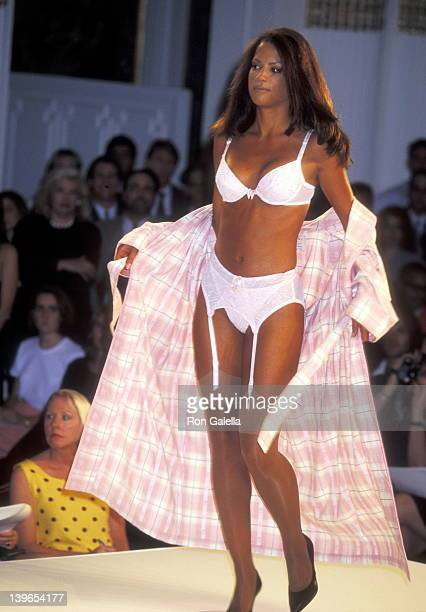 Model Veronica Webb walking down the runway at the First Annual Victoria's Secret Fashion Show on August 1 1995 at The Plaza Hotel in New York City...