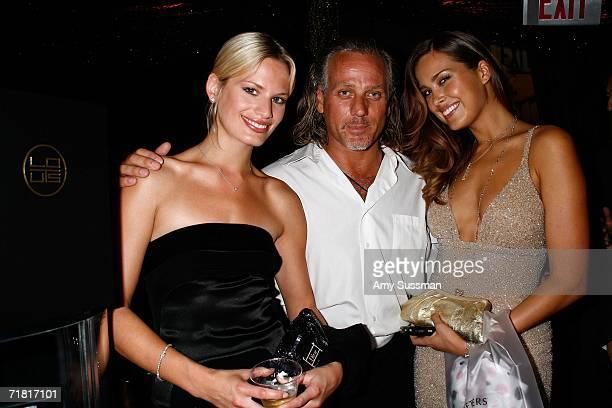 Model Vicky Andren designer Mark Baker and model Petra Nemcova pose at Lotus bar during The Bratz Forever Diamondz Lounge hosted by Distinctive...