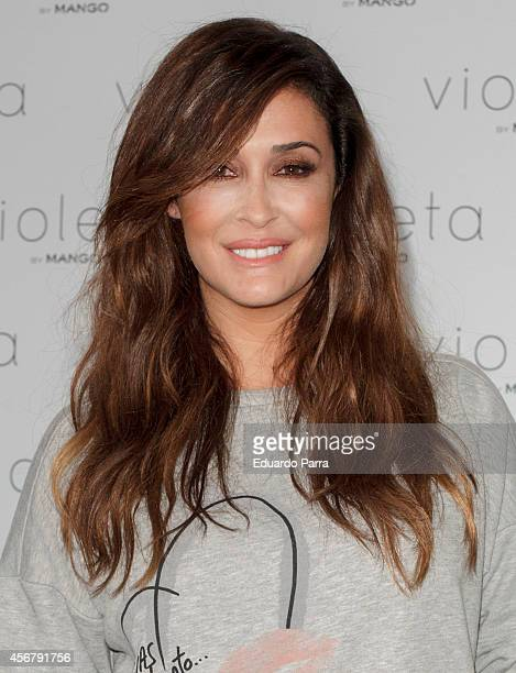 Model Vicky Martin Berrocal presents 'Violeta' By Mango campaign at Camera Studio in Madrid on October 7 2014 in Madrid Spain