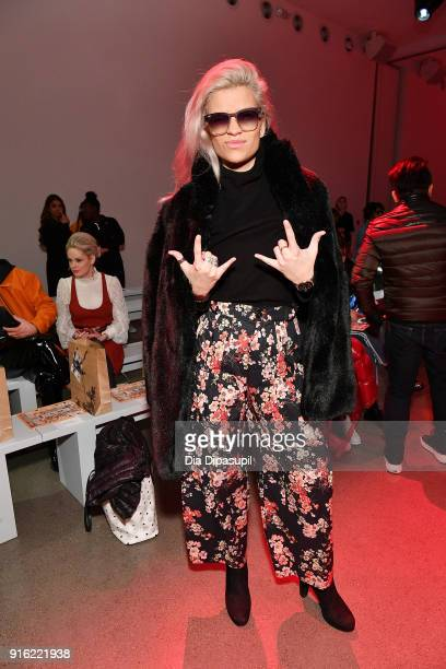 Model Victoria Brito attends the Just In XX presentation during New York Fashion Week: The Shows at Gallery II at Spring Studios on February 9, 2018...