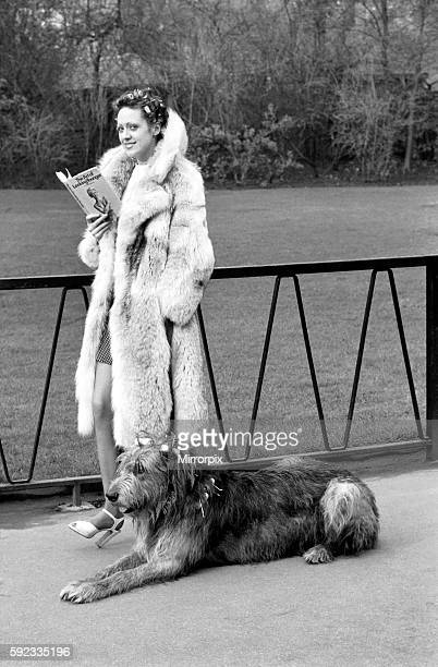 Model Victoria Burgyne and Irish Wolf Hound 'Jasper' February 1975 7500884