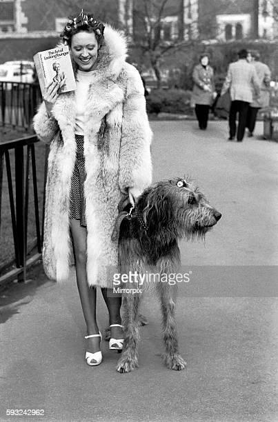 Model Victoria Burgyne and Irish Wolf Hound 'Jasper' February 1975 7500884002