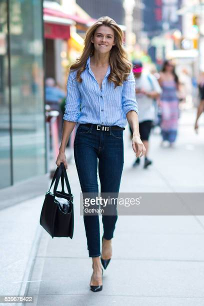 Model Victoria Lee is seen going to fittings for the 2017 Victoria's Secret Fashion Show in Midtown on August 26 2017 in New York City