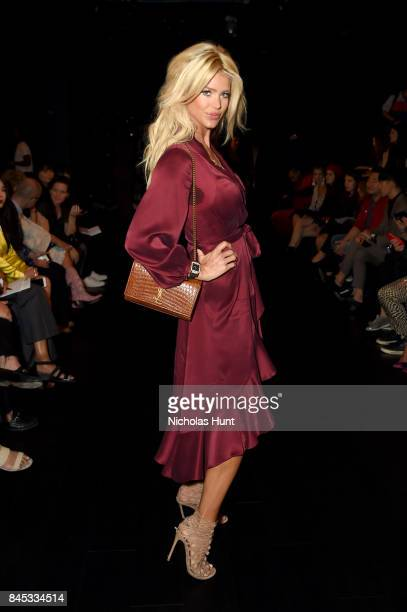 Model Victoria Silvstedt attends the Taoray Wang fashion show during New York Fashion Week The Shows at Gallery 1 Skylight Clarkson Sq on September 9...