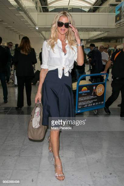 Model Victoria Silvstedt is seen during the 71st annual Cannes Film Festival at Nice Airport on May 9 2018 in Nice France
