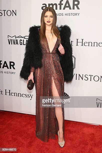 Model Vika Levina attends 2016 amfAR New York Gala at Cipriani Wall Street on February 10 2016 in New York City
