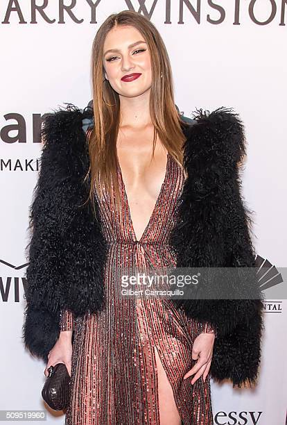 Model Vika Levina attends the 2016 amfAR New York Gala at Cipriani Wall Street on February 10 2016 in New York City
