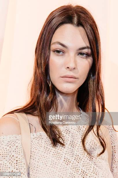 Model Vittoria Ceretti is seen backstage ahead of the Alberta Ferretti show during Milan Fashion Week Spring/Summer 2019 on September 19 2018 in...