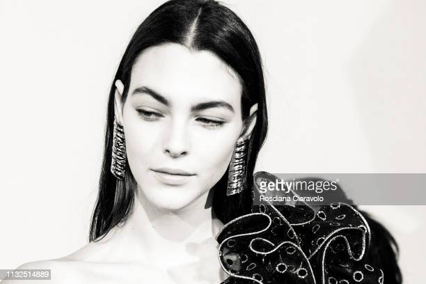Model Vittoria Ceretti is seen backstage ahead of the Alberta Ferretti show at Milan Fashion Week Autumn/Winter 2019/20 on February 20 2019 in Milan...