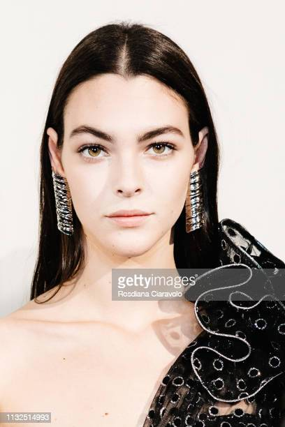 Model Vittoria Ceretti is seen backstage ahead of the Alberta Ferretti show at Milan Fashion Week Autumn/Winter 2019/20 on February 20 2019 in Milan...