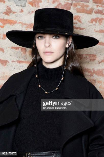 Model Vittoria Ceretti is seen backstage ahead of the Alberta Ferretti show during Milan Fashion Week Fall/Winter 2018/19 on February 21 2018 in...