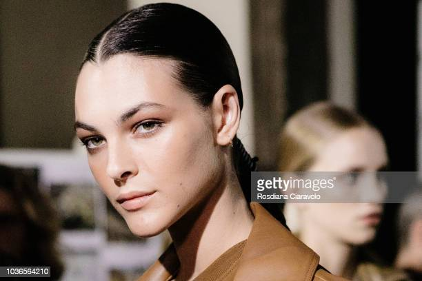 Model Vittoria Ceretti is seen backstage ahead of the Max Mara show during Milan Fashion Week Spring/Summer 2019 on September 20, 2018 in Milan,...