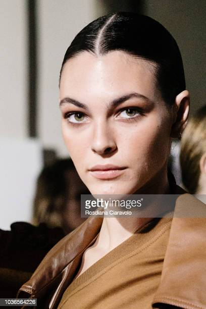 Model Vittoria Ceretti is seen backstage ahead of the Max Mara show during Milan Fashion Week Spring/Summer 2019 on September 20 2018 in Milan Italy