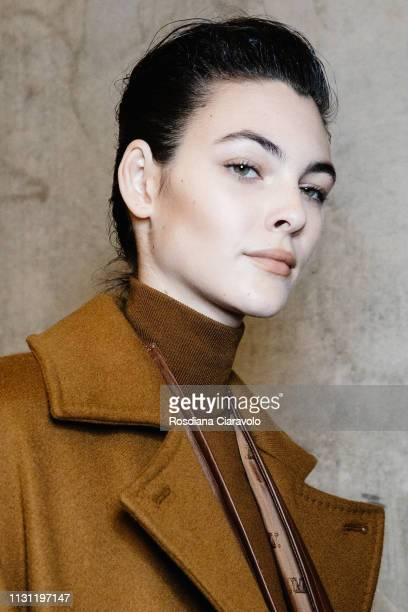 Model Vittoria Ceretti is seen backstage ahead of the Max Mara show at Milan Fashion Week Autumn/Winter 2019/20 on February 21 2019 in Milan Italy