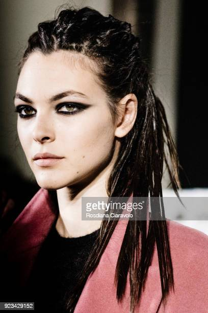 Model Vittoria Ceretti is seen backstage ahead of the Max Mara show during Milan Fashion Week Fall/Winter 2018/19 on February 22 2018 in Milan Italy