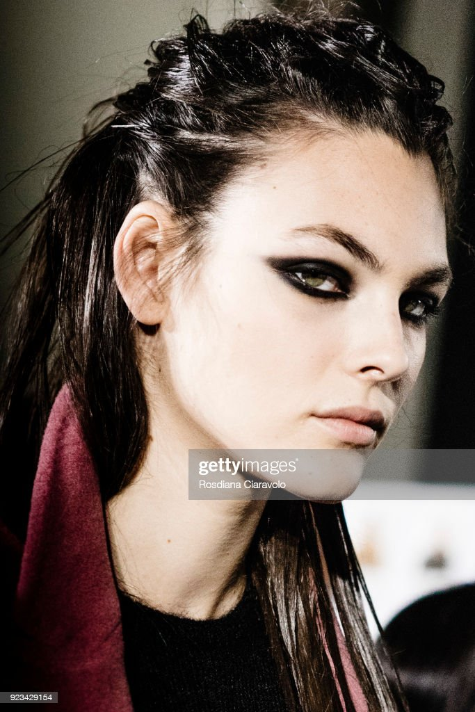 Model Vittoria Ceretti is seen backstage ahead of the Max Mara show during Milan Fashion Week Fall/Winter 2018/19 on February 22, 2018 in Milan, Italy.