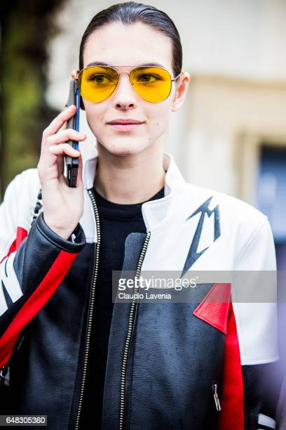 Model Vittoria Ceretti is seen in the streets of Paris after the Celine show during Paris Fashion Week Womenswear Fall/Winter 2017/2018 on March 5...