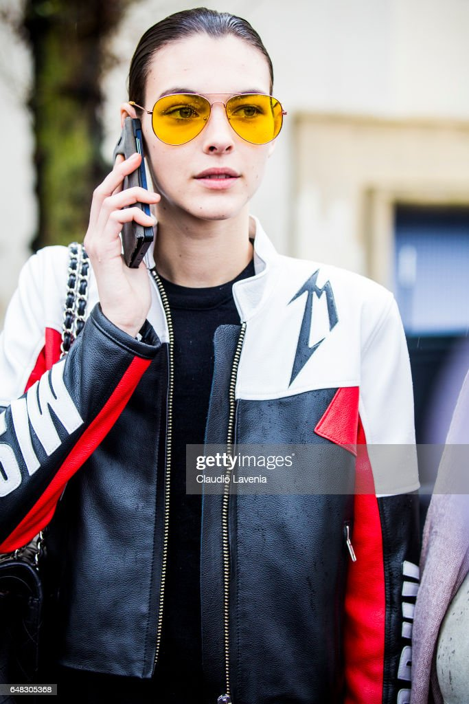 Model Vittoria Ceretti is seen in the streets of Paris after the Celine show during Paris Fashion Week Womenswear Fall/Winter 2017/2018 on March 5, 2017 in Paris, France.