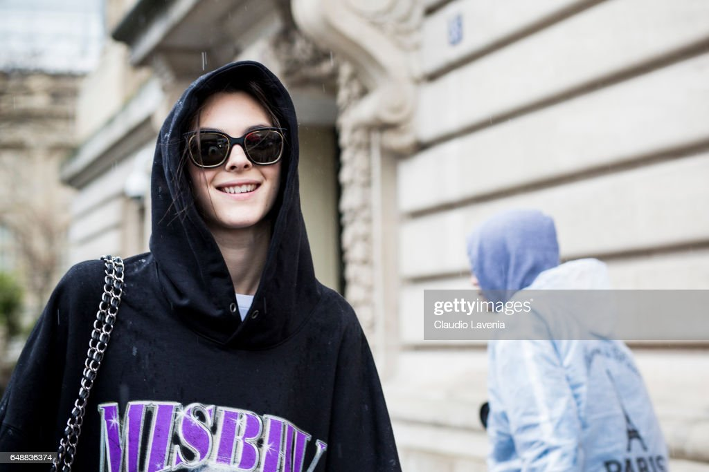 Model Vittoria Ceretti is seen in the streets of Paris after the Sacai show during Paris Fashion Week Womenswear Fall/Winter 2017/2018 on March 6, 2017 in Paris, France.