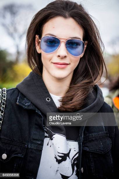 Model Vittoria Ceretti is seen in the streets of Paris after the Chanel show during Paris Fashion Week Womenswear Fall/Winter 2017/2018 on March 7...