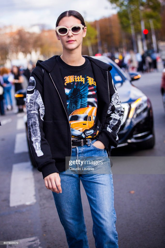 Model Vittoria Ceretti is seen on the streets of Paris, after the Chanel show during Paris Fashion Week Womenswear SS18 on October 3, 2017 in Paris, France.