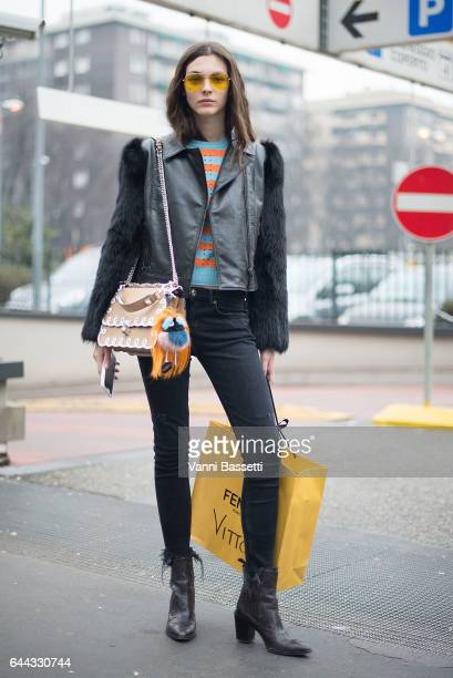 Model Vittoria Ceretti poses after the Fendi show during Milan Fashion Week Fall/Winter 2017/18 on February 23 2017 in Milan Italy