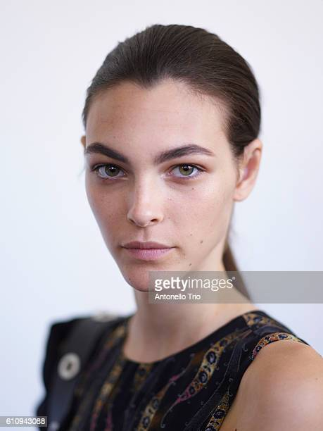 Model Vittoria Ceretti prepares backstage for the Boss Womenswear fashion show during New York Fashion Week September 2016 at The Gallery Skylight at...