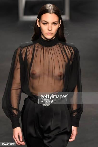 Model Vittoria Ceretti walks the runway at the Alberta Ferretti show during Milan Fashion Week Fall/Winter 2018/19 on February 21 2018 in Milan Italy