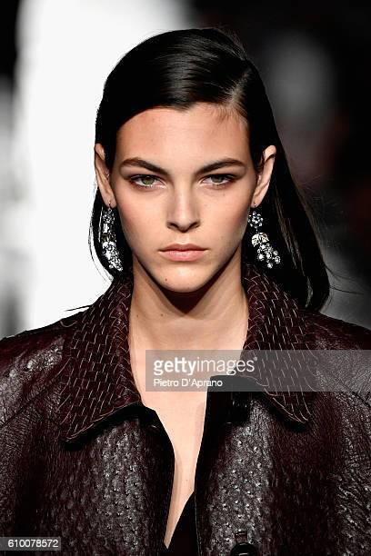 Model Vittoria Ceretti walks the runway at the Bottega Veneta show during Milan Fashion Week Spring/Summer 2017 on September 24 2016 in Milan Italy