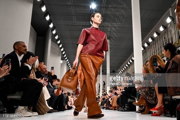 Model Vittoria Ceretti walks the runway at the Tod's show at Milan Fashion Week Autumn/Winter 2019/20 on February 22 2019 in Milan Italy