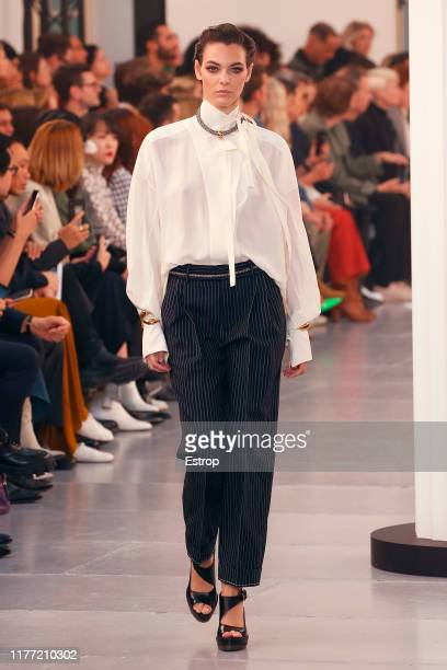 Model Vittoria Ceretti walks the runway during the Chloe Womenswear Spring/Summer 2020 show as part of Paris Fashion Week on September 26, 2019 in...