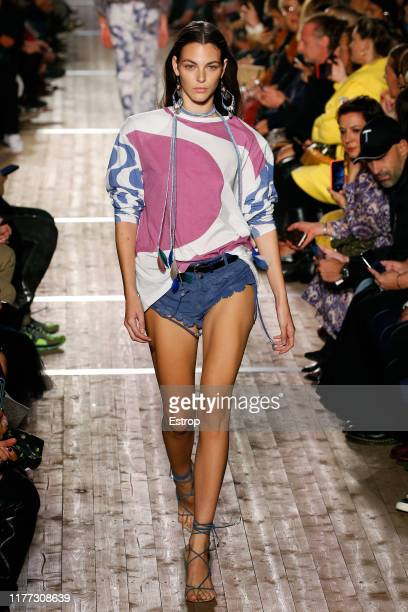 Model Vittoria Ceretti walks the runway during the Isabel Marant Womenswear Spring/Summer 2020 show as part of Paris Fashion Week on September 26...