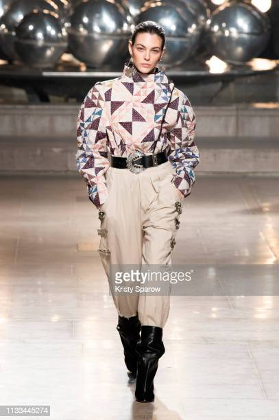 Model Vittoria Ceretti walks the runway during the Isabel Marant show as part of Paris Fashion Week Womenswear Fall/Winter 2019/2020 on February 28...