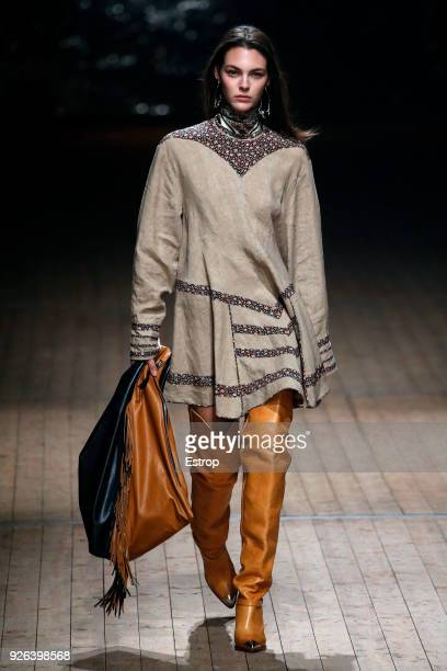 Model Vittoria Ceretti walks the runway during the Isabel Marant show as part of the Paris Fashion Week Womenswear Fall/Winter 2018/2019 on February...