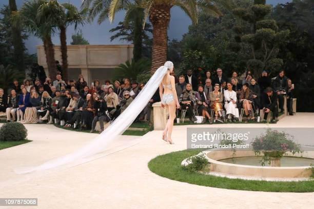 Model Vittoria Ceretti walks the runway in front of Oona Chaplin Geraldine Chaplin Kristen Stewart Tessa Thompson and Kristine Froseth attend the...