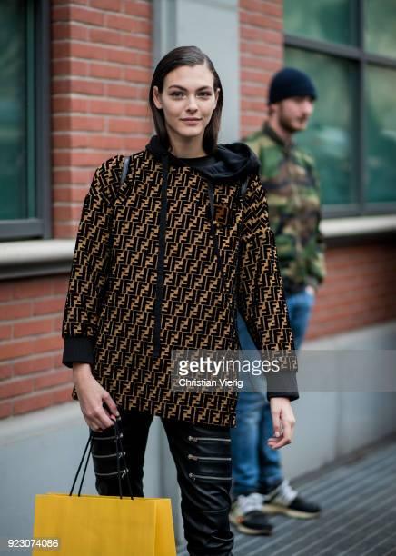 Model Vittoria Ceretti wearing Fendi hoodie seen outside Fendi during Milan Fashion Week Fall/Winter 2018/19 on February 22 2018 in Milan Italy