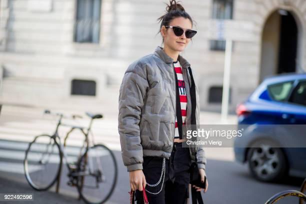 Model Vittoria Ceretti wearing grey bomber jacket seen outside Alberta Ferretti during Milan Fashion Week Fall/Winter 2018/19 on February 21 2018 in...