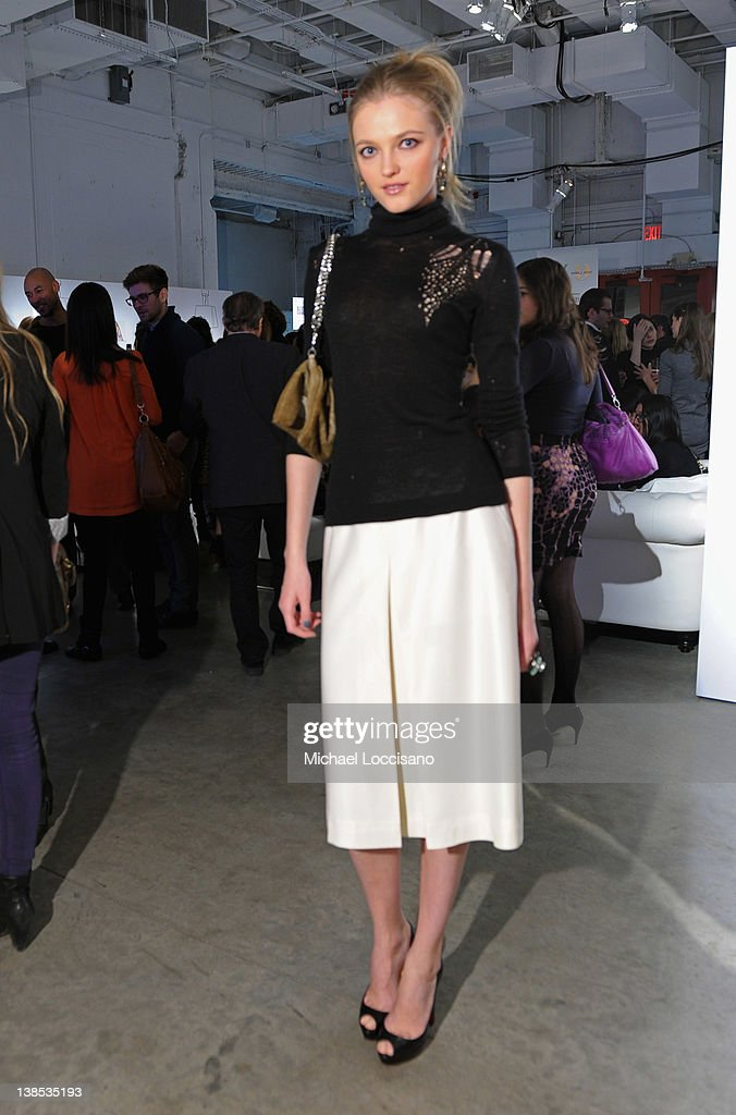 Model Vlada Roslyakova attends eBay Celebrity and Brad Pitt's Make It Right Celebrate Pop-Up Gallery Exhibition at Chelsea Market on February 8, 2012 in New York City.