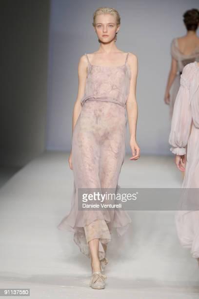 Model Vlada Roslyakova walks down the runway during the Alberta Ferretti show as part of Milan Womenswear Fashion Week Spring/Summer 2010 on...