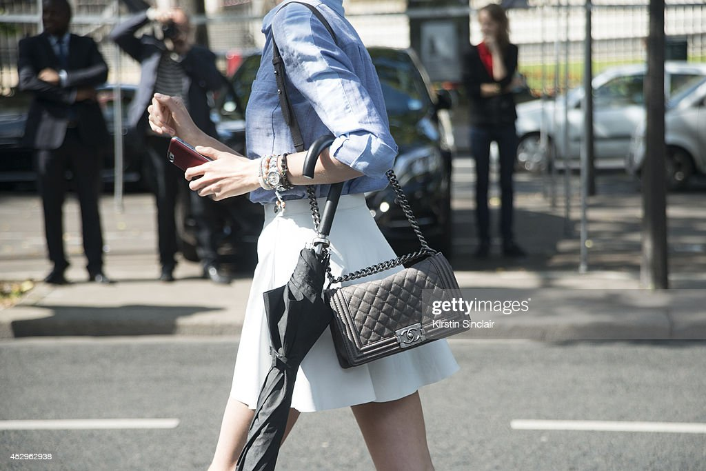 Model Vlada Roslyakova wearing a Chanel bag day 3 of Paris Haute Couture Fashion Week Autumn/Winter 2014, on July 8, 2014 in Paris, France.
