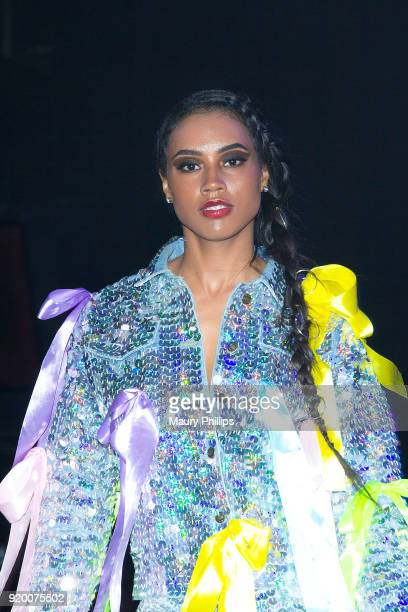 Model waering Angel Brinks during Couture Against Cancer hosted by Andre Drummond and Angel Brinks on February 17 2018 in Los Angeles California